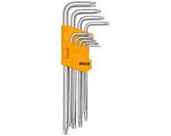 Набор ключей Torx INGCO HHK13092 INDUSTRIAL, 9шт, T10-T50, Сr-V, удлиненные рукоятки