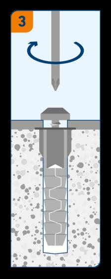3 - монтаж завинчиванием шурупа