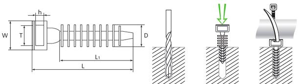 Монтаж дюбельной базы под нейлоновую стяжку