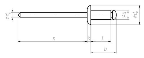 Размерная схема вытяжной заклепки Harpoon с обычным бортиком