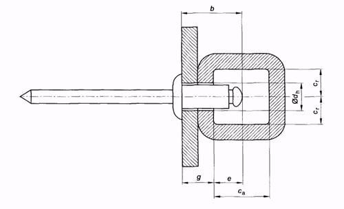 Размерная схема вытяжной заклепки Harpoon с обычным бортиком для монтажа