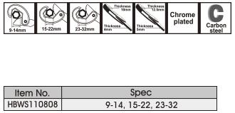 Размеры универсального ключа Ingco HBWS110808