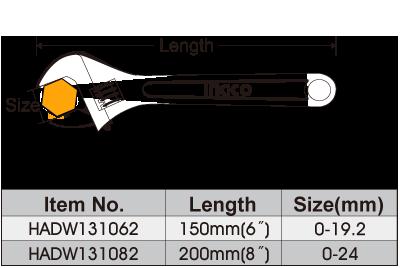 Размеры разводного ключа Ingco 150mm